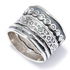 Passage to Israel Sterling Silver Hammered Multi Texture Three-Row Ring