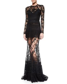 Elie Saab Sheer Lace Gown in Black
