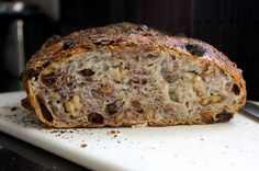 No-knead walnut raisin bread.  I just finished trying this recipe this afternoon and it was so delicious!