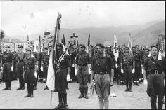 imagen del desfile victorioso con toda la parafernalia fascista tras la caida de Bilbao. 19 de Junio de 1937