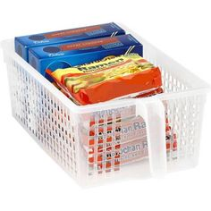 "$4.48 Kitchen Details Easy Pull Pantry Organizer Basket with Handle Grip, Medium 13.40"" L x 7.85"" W x 4.55"" D"