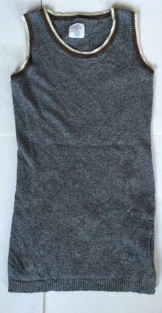 LOGG Sweater Vest S H&M Long Tunic Rayon Angora Wool Cashmere Gray Brown White #LOGG