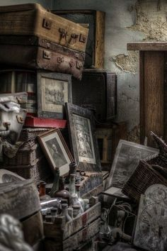 """Possessions Left Behind in an Abandoned House. """"Abandoned, Ruins, Once Beautiful. Abandoned Buildings, Abandoned Property, Abandoned Castles, Abandoned Mansions, Old Buildings, Abandoned Library, Derelict Places, Abandoned Places, Haunted Places"""