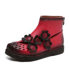 Designer SOCOFY Flower Soft Leather Ankle Vintage Slip On Flat Boots - NewChic Mobile.