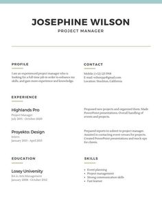 Simple Resume Skyblue Simple Fashion Resume  Resume Template  Pinterest