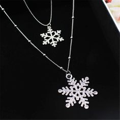 BYSPT Women Christmas Gift Beautiful Silver Crystal Snowflake Necklaces&Pendants Jewelry Snow Flower Necklace For Women Jewelry