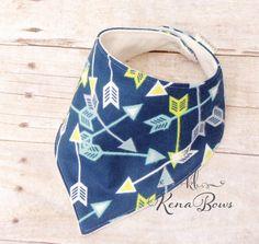 Arrow Bandana Bib Blue Flannel Soft Baby Boy Bib Boho by KenaBows
