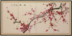 A tree with beautiful white blossoms in full bloom surrounded by peony flowers is the main theme of this sensational and artistic Japanese silk painting. Description from oriental-decor.com. I searched for this on bing.com/images