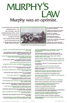 """Murphy's Law Poster (""""Anything that Can Go Wrong, Will"""") - Pyramid True Quotes, Best Quotes, Murphy Law, Simple Life Hacks, Do It Right, Woodworking Tips, Life Skills, Sarcasm, Philosophy"""