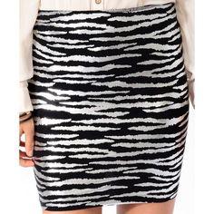 FOREVER 21 Metallic Zebra Pattern Skirt ($11) ❤ liked on Polyvore