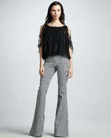 Alice + Olivia Cheryl Sheer Lace Top & Striped Bell-Bottom Pants