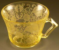 Florentine #2 Poppy Yellow Depression Glass Flat Cup Hazel Atlas VTG Glassware