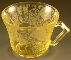 Florentine #2 Poppy Yellow Depression Glass Flat Cup Hazel Atlas VTG Glassware