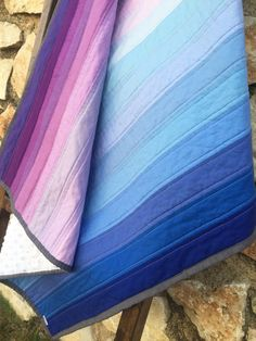 Handmade Ombre Baby Quilt - Modern Baby Quilt - Purple and Blue Baby Quilt - Minky Baby Quilt - Baby Blanket - Crib Bedding - Stroller Quilt - pinned by pin4etsy.com