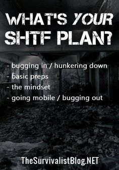 An overview of a basic SHTF/Doomsday/emergency plan. Do you have all your basics covered? Wilderness Survival, Survival Prepping, Emergency Preparedness, Survival Skills, Tears For Fears, Lower Your Cholesterol, Emergency Preparation, Aging Parents, Living Off The Land
