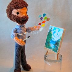 Bob Ross #crochet doll by @craftyiscool