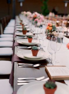 I love the idea of giving potted plants as wedding favors. With time, nurture and care the plants will grow, just like a marriage.<3
