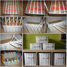 Share You can use old newspaper to make paper roll and weave the basket, good way to clean house and organize your home. Materials: Paper roll (from newspaper or new paper) Cardboard Scissors Glue Clips