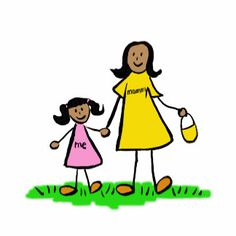 """Mother and daughter hold hands. The woman's shirt read """"mommy"""" and the little girl's dress reads """"me"""". The family is brunette. There are multiple color versions of the family. Makes great Mom gifts! Buy the art on a variety of mother and daughter. I Miss My Mom, Love You Mom, Mothers Love, Mommys Girl, Children's Book Illustration, Art Illustrations, Photography Gallery, Colorful Drawings, Custom Art"""