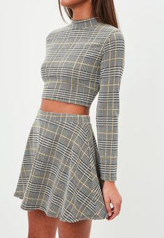 6a1b8746337 Missguided - Petite Grey Checked High Neck Crop Top Petite Outfits