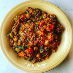 Moroccan Chickpea Stew 1) Chop half of a large yam/sweet potato into cubes. Drain and rinse 1 cup of chick peas. Sprinkle curry and paprika over everything, spray with olive oil spray, and roast for 30 min on 400F.  2) Chop onion and fry it in a medium/large pot with olive oil, minced garlic, and ginger. 3) Add in chopped mushrooms, carrots, green beans, a whole chopped tomato.  4) Add 1/2 cup red lentils, 1/4 cup quinoa, half a cube of vegetable bouillon, 2-3 cups water. Simmer for 30-40…