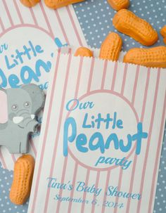 Peanut Baby Shower Favor Bags: 20 Personalized Little by SosiaToGo