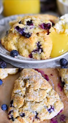 This Lemon Blueberry Scones recipe is a delightful addition to any breakfast or brunch! Fresh blueberries and loads of lemon zest add an irresistible freshness to these easy to make scones. Serve with Quick Dessert Recipes, Easy Cookie Recipes, Brunch Recipes, Sweet Recipes, Scone Recipes, Brunch Food, Crepe Recipes, Sweet Cherry Recipes, Easy Recipes