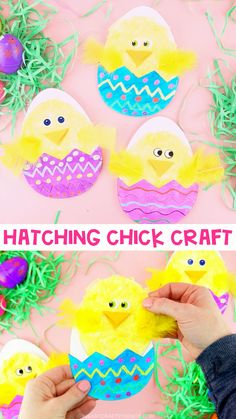 Hatching Chick Easter Craft for Kids Hatching Chick Easter Craft for Kids,Papier und basteln We have been having so much fun with making chick crafts this year! I think this Chick Hatching Craft is. Bunny Crafts, Easter Crafts For Kids, Toddler Crafts, Diy For Kids, Diy Easter Cards, Unicorn Crafts, Preschool Crafts, Art Activities For Toddlers, Easter Activities