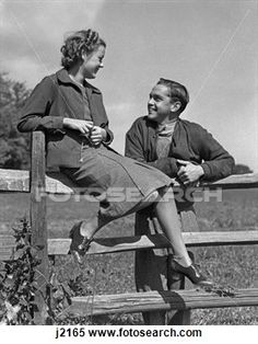 1930s teen | 1930S 1940S Young Happy Teen Couple On Wooden Fence View Large Photo ...
