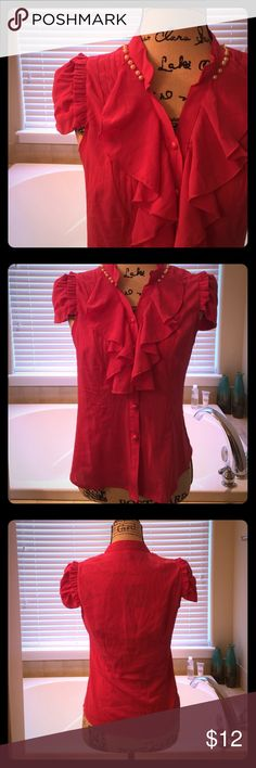 🌷Pearl Beaded Button Down Blouse 🌷 A bit sheer, never worn - deep dark pink, ruffle blouse. This is tagged in another country size as an XL but fits as a juniors MEDIUM/Small. I am a pretty petite person. Please ask if you have questions on sizing. Listing as a medium. This blouse looks amazing in the office and yes, the pearls are attached! Bundle and Save or kindly submit me an offer 🌷 Tops Button Down Shirts