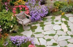 """i like the pavers and grass...and lot's of color...with a place to sit...""""secret place"""""""