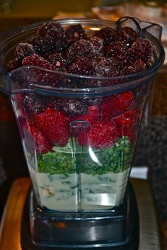 Berry Smoothie:1 cup milk  1 cup fz strawberries  1 cup fz blackberries  4-6 prunes  2-3 cups kale (no stems)  1-2 TBL flaxseed
