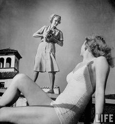 Photographer Nina Leen with model