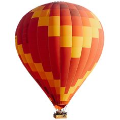 A bold red, yellow, and orange hot air balloon is returning from the wonderful land of oz.
