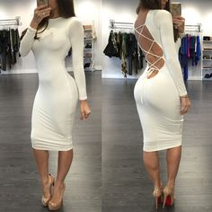 Open Back Lace-Up Mid Calf Dress