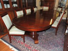 Stunning Antique 19th Century Round Oval Empire Mahogany Dining Table