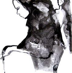 "Saatchi Online Artist: Sylvia Baldeva; Ink 2012 Painting ""Observing - ink"""