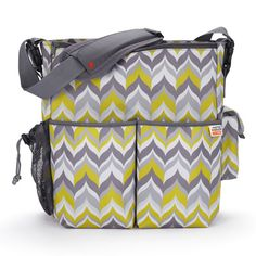 In love with this gray/green chevron diaper bag! Even goes with our color scheme!