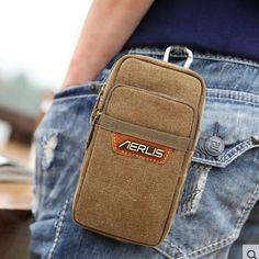 Men's Canvas Cell Mobile Phone Belt Pouch Purse Belt Fanny Pack Hook Waist Bag #UnbrandedGeneric #FannyPackWaistBagPurse