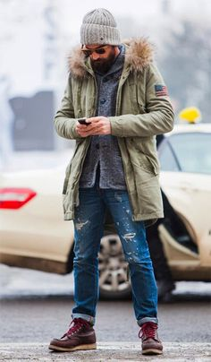 Men'S fashion › fashion for 30 year old men men's olive parka, grey shawl cardigan, blue ripped jeans, burgundy leather work boots Mode Hipster, Anorak, Winter Outfits, Casual Outfits, Blue Ripped Jeans, Cooler Look, Herren Outfit, Men Looks, Ideias Fashion