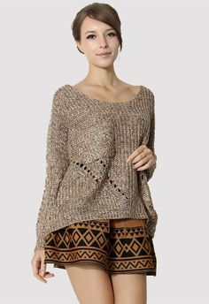 Shredded Loose Fit Pocket Sweater in Coffee - Long Sleeve - Tops - Retro, Indie and Unique Fashion #Chicwish