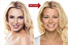 Try it on! InStyle virtual haircut/color from celebrity styles. Use your own photo or one of the similarly shaped/shaded faces of models.