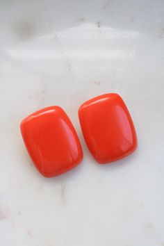 Vintage Large Orange Square Clip On Earrings Clip On Earrings, Etsy Earrings, Orange Square, More Than One, Silver Accessories, Blue Rings, Red Coral, This Or That Questions, Jewellery