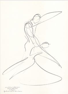 "Drawing by Stanley Roseman of Paris Opera star dancers Laurent Hilaire and Isabelle Guerin, ""La Bayadere,"" 1995, Private collection, London."