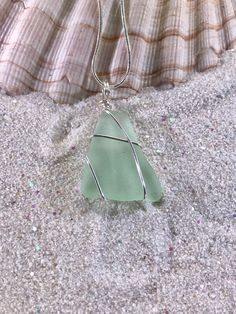 Aquamarine Sea Glass Necklace, Coca Cola Beach Glass Jewelry, Ocean Inspired gift for her, Aqua Mermaid Tears present for her birthday