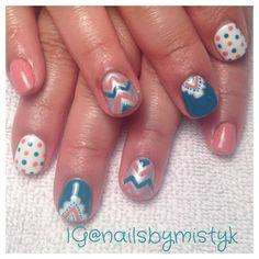 Shellac nail art. Chevron and polka dots nail design. Winter or spring nail art