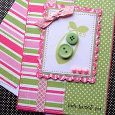 New Baby Card with Matching Embellished Envelope - Girly Sweet Pea via Etsy
