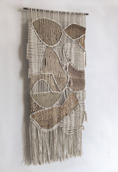 Contemporary fiber art - organic abstraction - abstract expressionism  - minimalism #macrame #weaving #freeformmacrame #moderntapestry #homenature #neutrals #deserthues