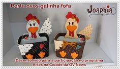 MOLDES GRATUITOS da galinha porta ovos no pote de sorvete que desenvolvi para o programa de TV a cabo Artes na Cidade no canal GV New. Chicken Crafts, Rooster Decor, Diy Ostern, Art N Craft, Trash To Treasure, Recycled Bottles, Wine Bottle Crafts, Felt Diy, Secret Santa
