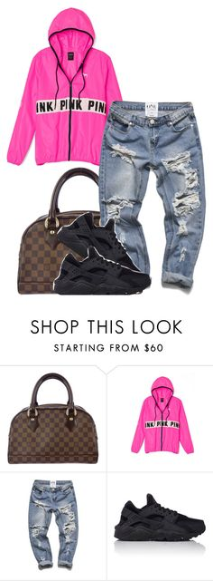 """basic"" by simoneswagg ❤ liked on Polyvore featuring Louis Vuitton, Victoria's Secret PINK, NIKE, women's clothing, women, female, woman, misses and juniors"